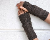 Brown Fingerless Gloves Arm Warmers Hand Knit Chic Autumn Accessories Fall Fashion