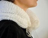 Cowl Neckwarmer White Mohair Chic Warm Hand Knit