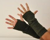 Wool Fingerless Gloves Armwarmers Hand Knit Dark Green Military Green Chic Autumn Accessories Fall Fashion