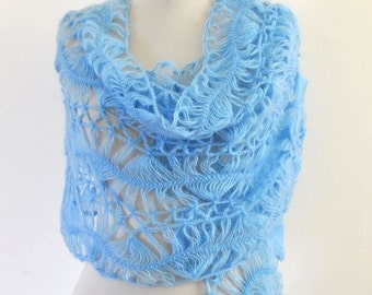 Crochet Shawl Weddings Shawl Lace Mohair Pale Blue Sky Ocean Sapphire Topaz Dreamy Elegant