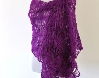 Crochet Shawl Plum Lace Mohair Warm Cozy Chic