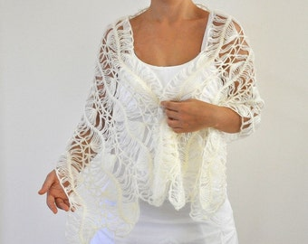 Crochet Shawl Wedding Shawl Ivory Mohair Soft Lace Bridal Accessories