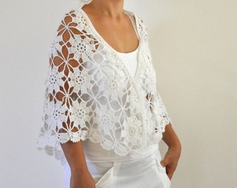 Crochet Shawl Weddings Shawl White Mohair Unique Delicate Chic Romantic