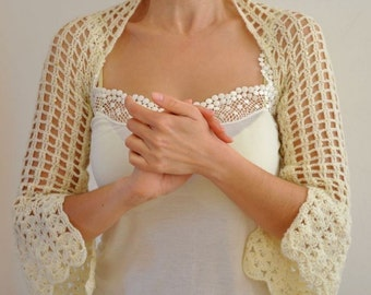 Ivory Shrug Bolero Bridal Shrug Wedding Bolero Lace Mohair with Sequins Brides Bridesmaids