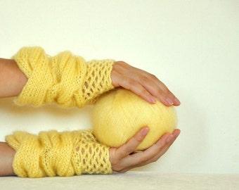 Knit Mohair Gloves Yellow Fall Autumn Winter