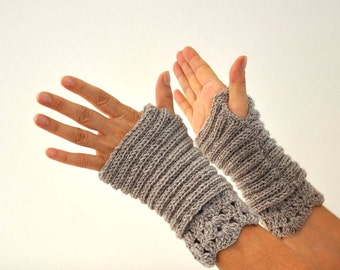 Camel Fingerless Knit Gloves Wrist Warmers Wool Lace Gift for Her