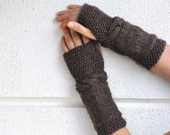 Brown Fingerless Gloves Wrist Warmers Armwarmers Hand Knit Chic Winter Accessories Winter Fashion