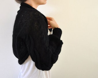 Hand Knit Shrug Bolero Bridal Shrug Black Mohair Long Sleeved Braided Sweater Cardigan