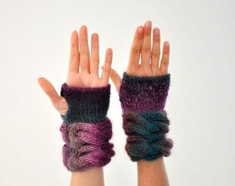 Hand Knit Fingerless Gloves Mittens Wrist Warmers Plum Purple Green Chunky Warm Wool Winter Accessories Winter Fashion