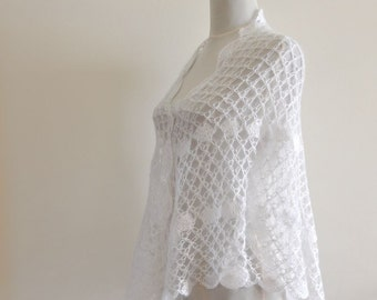 Crochet Shawl White Mohair Weddings Stole Delicate Bride Bridesmaids Exclusive Elegant Dreamy