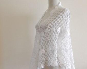 Crochet Shawl White Mohair Weddings Stole Delicate Bride Bridesmaids Exclusive Elegant Dreamy