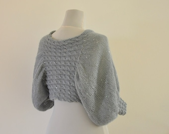 Wedding Bolero Bridal Shrug Bolero Knit Sweater Cardigan Soft Elegant Gray Dove Smoke Fog Silver Wedding Accessories