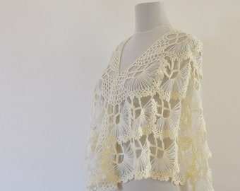 Crochet Shawl Ivory Bridal Shawl Wedding Stole Wrap Mohair Delicate Chic Elegant Exclusive
