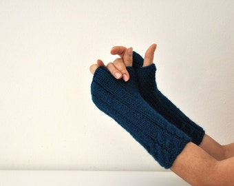 Long Fingerless Gloves Armwarmers Teal Green Hand Knit Autumn Accessories Fall Fashion