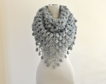 Crochet Shawl Gray Bridal Shawl Wedding Stole Wrap Grey Smoke Silver Mohair