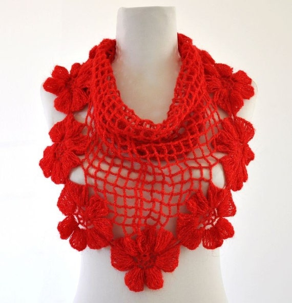 Red Flowers Mohair Cowl / Neckwarmer Soft Light Garnet Gift for Her