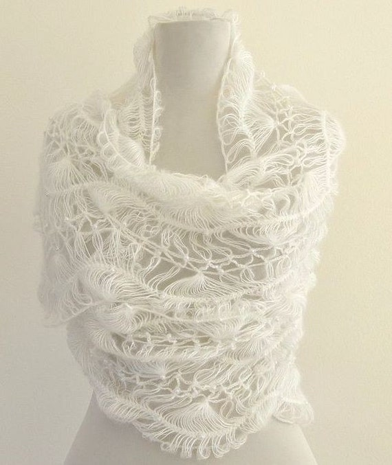Crochet Lace Wedding Shawl Pattern : Items similar to White Crochet Shawl Lace Mohair Beaded ...