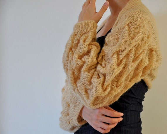 Cable Knit Sweater Cardigan Shrug Bolero Bridal Shrug Long Sleeved Mohair Champagne Brown Amber Honey Romantic Elegant