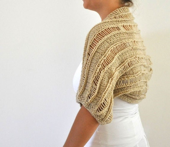 Handknit Brown Cozy Striped Shrug / Bolero