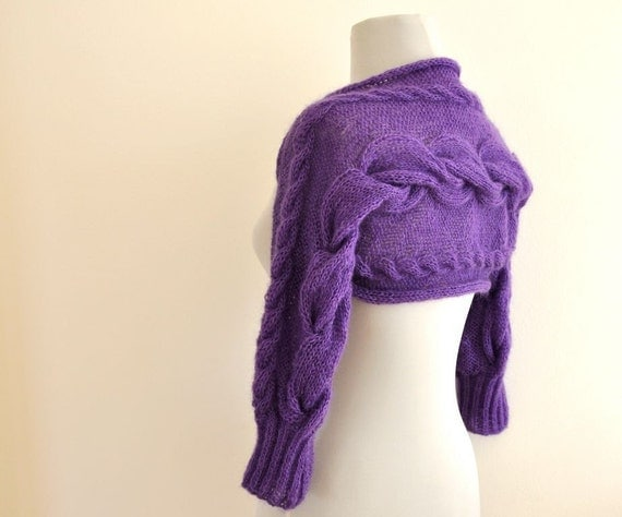 Bridal Shrug Bolero Wedding Jacket Hand Knit Purple Amethyst
