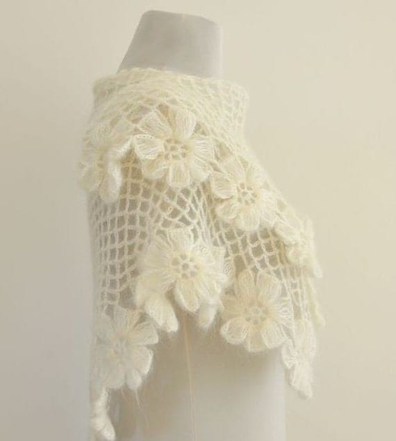 Crochet Shawl Weddings Shawl Ivory Flowers