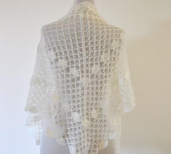 Crochet Scarf Shawl Wedding Shawl Mohair Wrap Shawl Bridal Shawl Ivory Delicate Romantic Chic Elegant