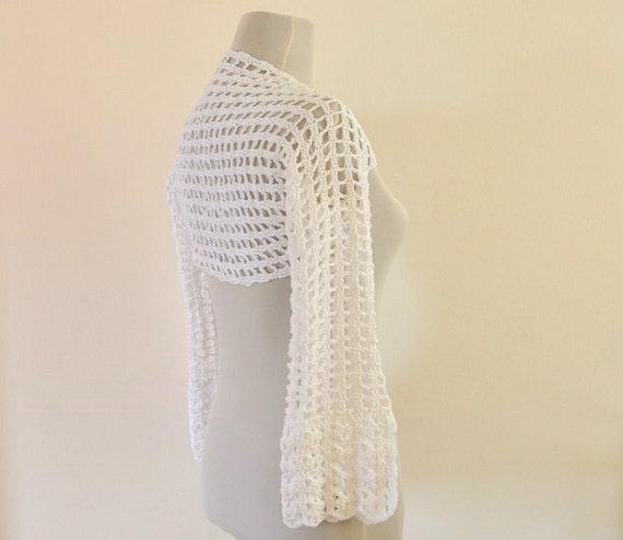 Special Order for Becky White Cotton Lace Shrug Bolero Bridal Shrug 3/4 Sleeve Crochet