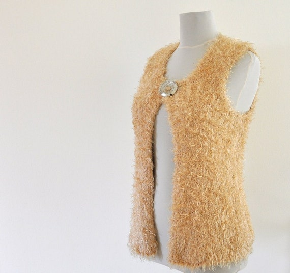 Sweater Vest Cardigan Jacket Champagne Pale Brown Honey Caramel Camel Beige Fuzzy FREE SHIPPING