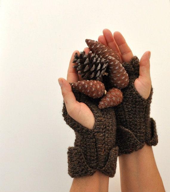 Fingerless Gloves Wrist Warmers Crochet Brown Wool Soft Warm Cozy Autumn Accessories Fall Fashion Chic Elegant