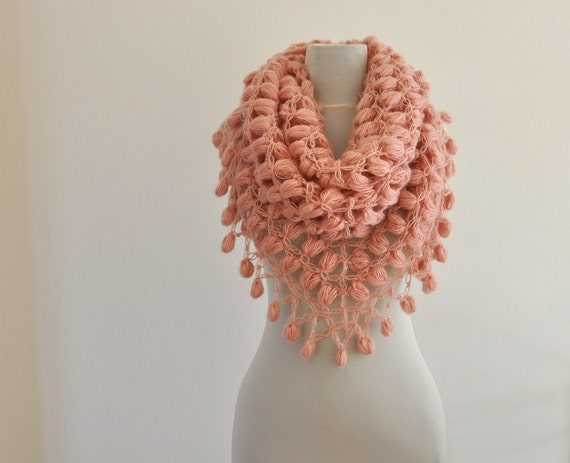 Rose Crochet Shawl Bridal Shawl Wedding Stole Wrap Pink Peach Salmon Mohair