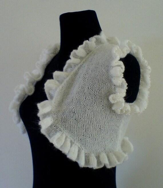 White Ruffles Mohair Shrug \/ Bolero - Bridal Shrug