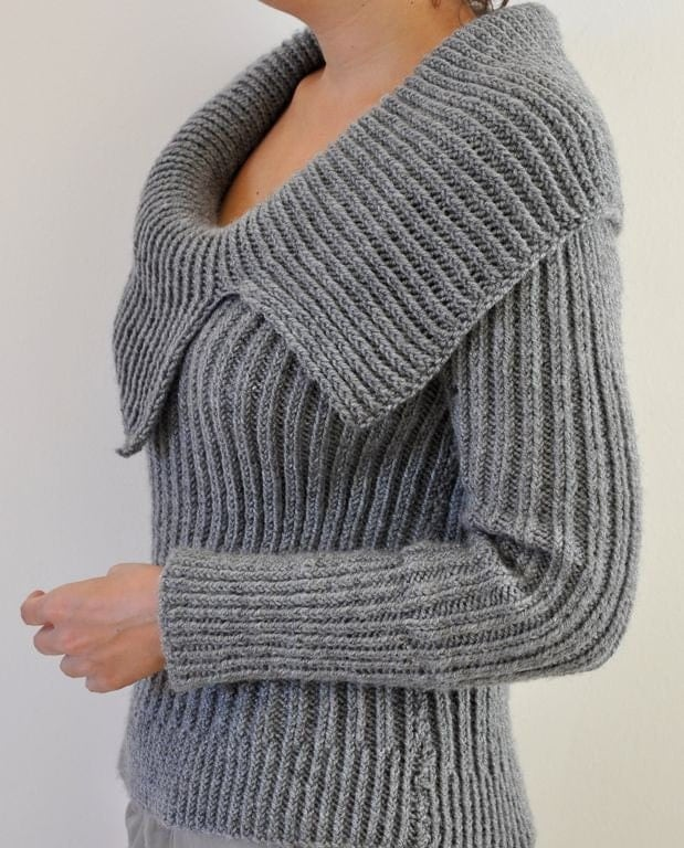 Women Sweater Cardigan Hand Knit Gray Grey by reflectionsbyds