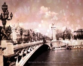 SALE Paris Photographs - Pont Alexandre III Bridge Over The Seine, Romantic Pink Paris Decor, Fine Art Photograph Print 9x12