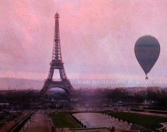 Paris Photography, Baby Girl Nursery Decor, Paris Pink Prints, Eiffel Tower Hot Air Balloon Print, Paris Baby Girl Nursery Room Art Prints