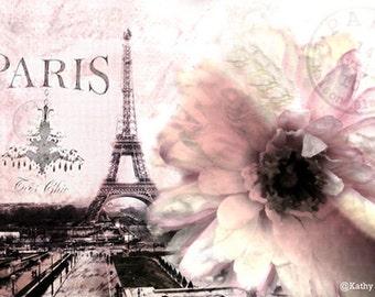 Paris Photography, Dreamy Pink Paris Eiffel Tower Floral Print, Eiffel Tower Spring Print, Paris Eiffel Tower Fine Art Photo, French Decor