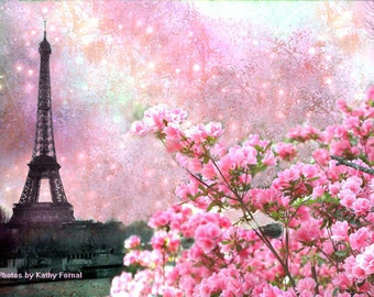 Paris Photography, Eiffel Tower Spring Wall Decor, Paris Spring Eiffel Tower Print, Paris Spring Cherry Blossoms, Paris Spring Blossoms Art