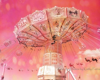 Carnival Rides Ferris Wheel Photos, Baby Girl Nursery Room Decor, Carnival Photography, Kids Room Wall Art, Hot Pink Swing Ride Carnival Art
