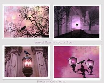 Nature Photography, Surreal Fantasy Ravens Crow, Gothic Fantasy Nature Prints, Gothic Ravens, Purple Lavender Ravens Trees, Ravens Photo Art