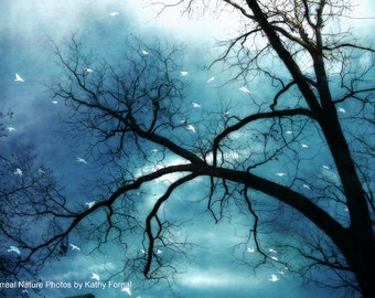 Nature Photography, Surreal Haunting Eerie Trees Sky Birds, Gothic Blue Nature Photography, Ethereal Tree and Birds, Blue Nature Tree Photo