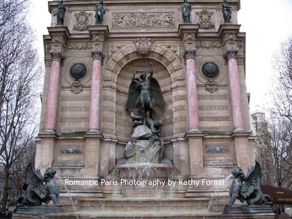 Paris Photography, St. Michael Angel Monument, Paris Archangel Saint Michael, Paris Angels, Paris Statues Monuments, Paris Prints Wall Art