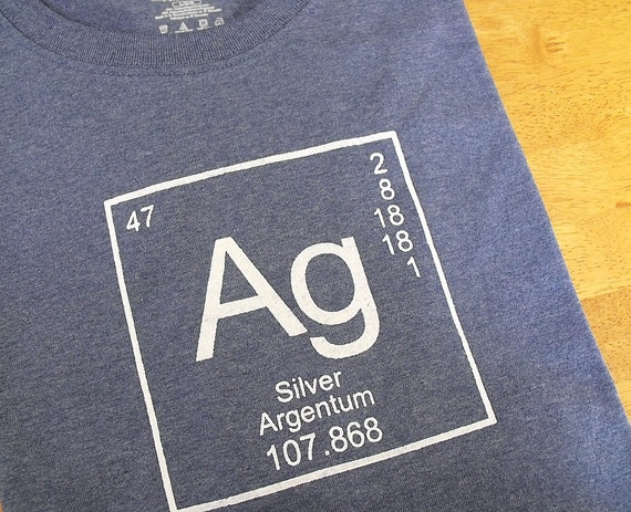 Men's T-shirt - Science Tee in Cotton - Periodic Table of Elements Silver Ag - Blue Tshirt - Large