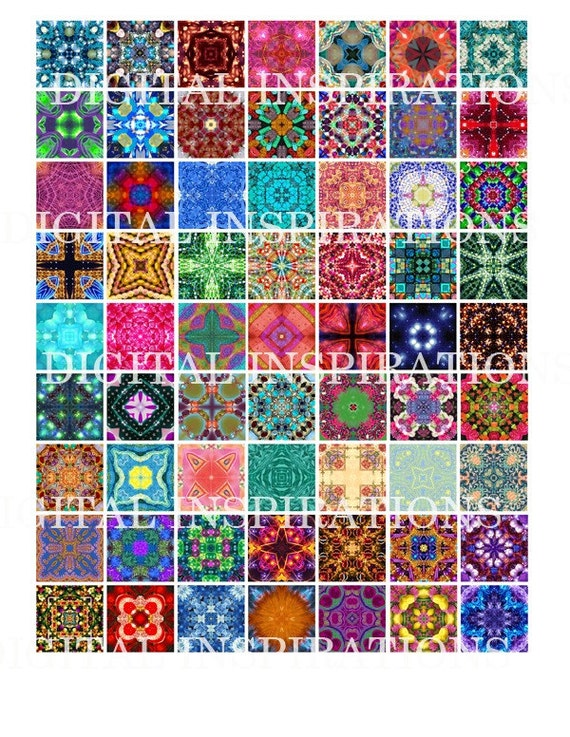 Downloadable Collage Sheet 1x1 Scrabble Tile Images KALEIDOSCOPE Sent to your email