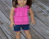 Pretty in Pink:  Layered Ruffled Knit Top, Perfectly Piper cut-off denim jeans with lace trim, pink necklace for American Girl Doll