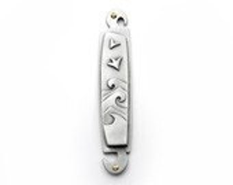Pewter Wave Mezuzah - Contemporary Pewter Judaica