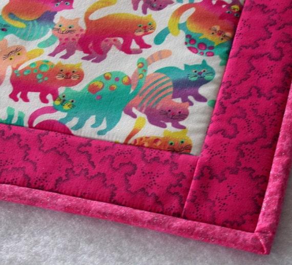 Cat Blanket Pet Mat Bright Colorful Kitty Print Medium