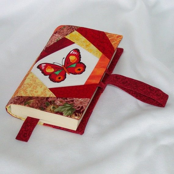 Fabric Paperback Book Covers With Handles : Butterfly patchwork book cover for paperback wristlet handle