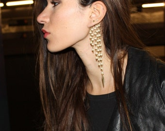 Pearl Spike Ear Cuff Gold Brass