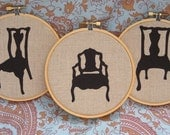 chair silhouette applique trio as seen in Country Living Magazine