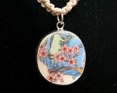 Unique Cherry Blossom Pottery Shard Pendant Hemp necklace