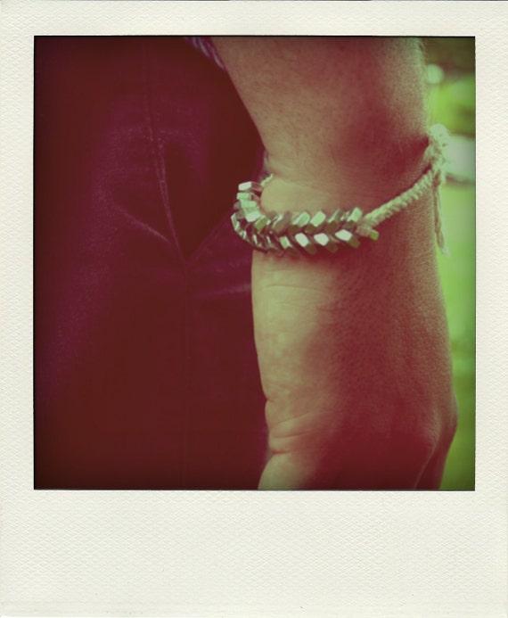 recycled zinc hex nuts braided bracelet